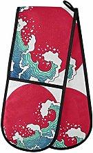 HMZXZ RXYY Double Oven Glove Ocean Waves Sun Heat