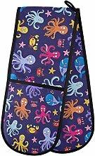 HMZXZ RXYY Double Oven Glove Sea Octopus Star Navy