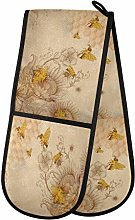 HMZXZ RXYY Double Oven Glove Vintage Bee Flowers