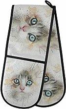 HMZXZ RXYY Double Oven Glove Watercolor Animal Cat