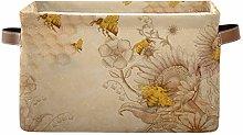 HMZXZ Rxyy Vintage Bee Flowers Canvas Fabric