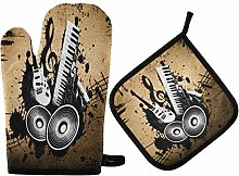HMZXZ RXYY Vintage Music Note Guitar Oven Mitts