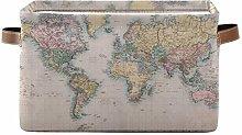 HMZXZ Rxyy World Map Print Canvas Fabric Storage