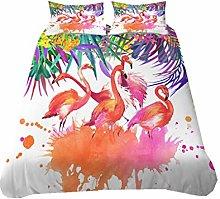 HNHDDZ 3D Animal Flamingo Toucan Bedding Set