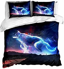 HNHDDZ 3D Animal Wolf Bedding set Single bed Duvet