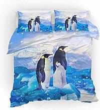 HNHDDZ Bedding Set 3 Pcs 3D Animal Penguin Family