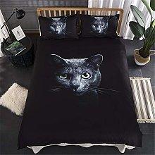 HNHDDZ Black Bedding set King size 3D Animal Cat