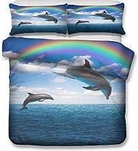 HNHDDZ Duvet cover Dolphin Marine 3D Animal Galaxy