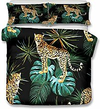 HNHDDZ Teens Bedding Set Tropical Animal Plant