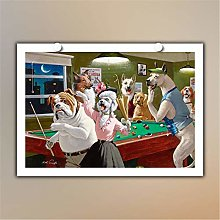HNTHBZ Canvas Painting Animal Dogs Playing Pool