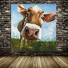 HNTHBZ Canvas Painting Cow Picture Abstract Wall