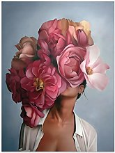 HNTHBZ Canvas Painting Flowers Feathers Woman