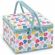 HOBBY GIFT  Large Twin-Lid Sewing Basket with a