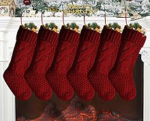Hodeacc 6 Set Large Knitted Christmas Stocking,Red