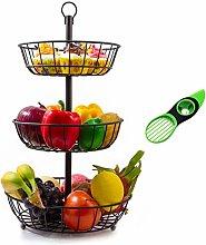 Hokyzam 3-Tier Fruit Basket Metal Fruit Bowl Bread