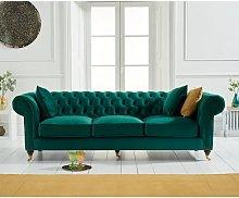 Holbrook Chesterfield 3 Seater Sofa In Green Velvet
