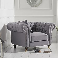 Holbrook Chesterfield Sofa Chair In Grey Linen