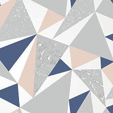 Holden Decor - Holden Wallpaper Glacier Navy/Coral