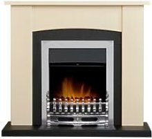 Holden Fireplace in Cream & Black with Blenheim