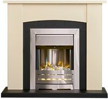 Holden Fireplace in Cream & Black with Helios