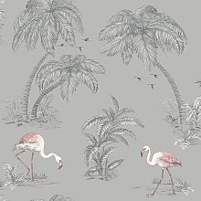 Holden Flamingo Lake Birds Trees Wallpaper - Grey