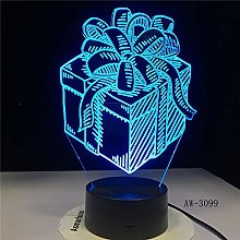 Holiday Christmas Kids Gift Box Night Light 3D