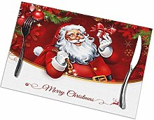 Holiday Santa Clause Placemats Set of 4 Washable