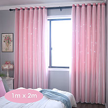 Hollow star curtain, pink 1m*2m one piece