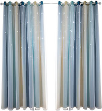 Hollow star yarn gradient curtain, blue 134*160