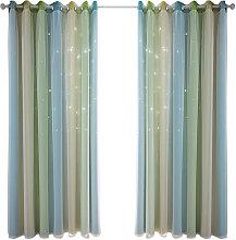 Hollow star yarn gradient curtain, green 134*270