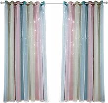 Hollow star yarn gradient curtain, pink 134*270