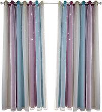Hollow star yarn gradient curtain, purple 100*130