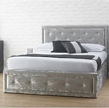 Hollywood Crushed Velvet Ottoman King Size Bed In