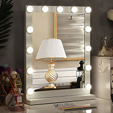 Hollywood Dimmable LED Light Makeup Mirror Tabletop Mirrors, 42x52CM