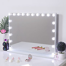 Hollywood Dimmable LED Light Makeup Mirror Tabletop Mirrors, 80X60cm