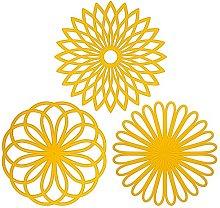 Homclo 3pcs Flower Insulated Coaster Silicone Non