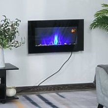 HOMCOM 1000W Wall Mounted Tempered Glass Electric