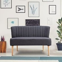 HOMCOM 2 Seater Sofa, Linen-Dark Grey