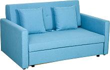 HOMCOM 2-Seater Storage Sofa Convertible Bed Wood