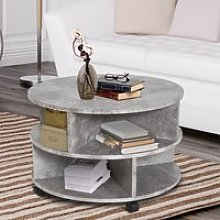 HOMCOM 2 Tier Round Side End Coffee Table Sector