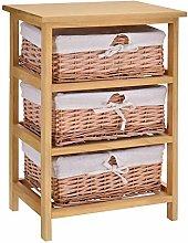 HOMCOM 3 Drawer Dresser Wicker Basket Storage