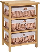HOMCOM 3 Drawer Wicker Basket Storage Shelf Unit