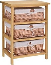 HOMCOM 3 Drawer Wicker Basket Storage Shelf Unit