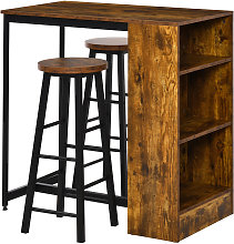 HOMCOM 3 Pcs Industrial-Style Bar Table Set
