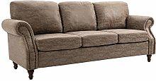 HOMCOM 3 Seater Corner Sofa Faux Leather wood