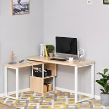 HOMCOM 360° Rotating Corner Desk L-Shaped PC