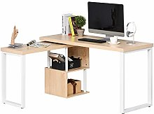 HOMCOM 360° Rotating Corner Desk L-Shaped PC