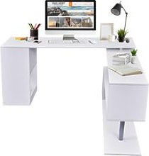 HOMCOM 360° Rotating Corner Desk Storage Shelf