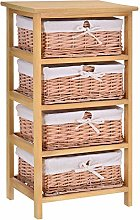 HOMCOM 4 Drawer Dresser Wicker Basket Storage