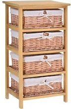 HOMCOM 4 Drawer Wicker Basket Storage Shelf Unit
